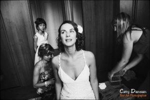 photo préparation mariage noir et blanc